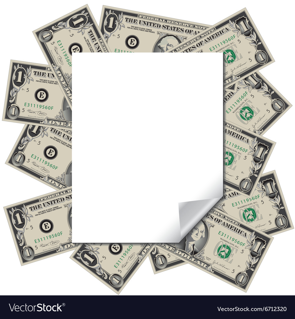 Money frames this blank page Royalty Free Vector Image