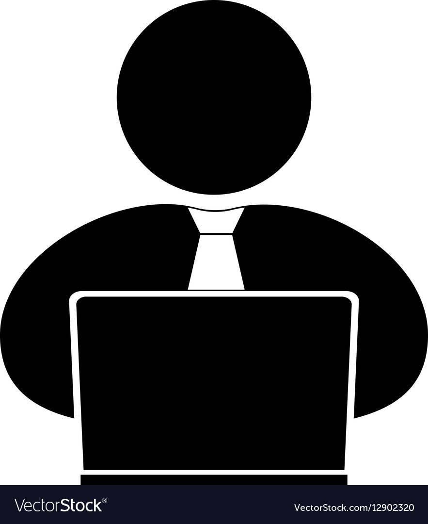 People with computer person laptop ico