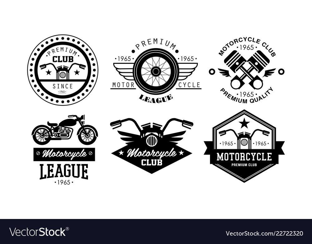 Premium motorcycle league logo set retro badges