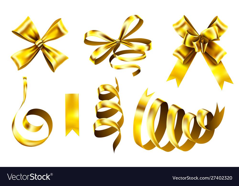 Realistic gold bows decorative golden favor