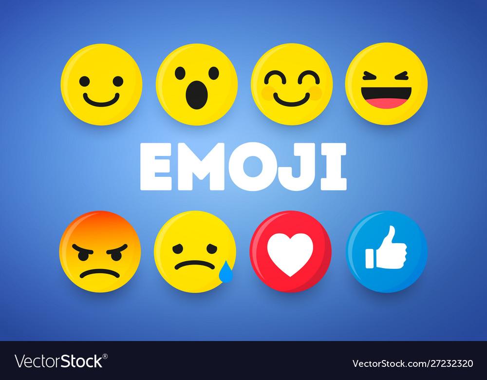 Set cute smiley emoticons emoji 3d design