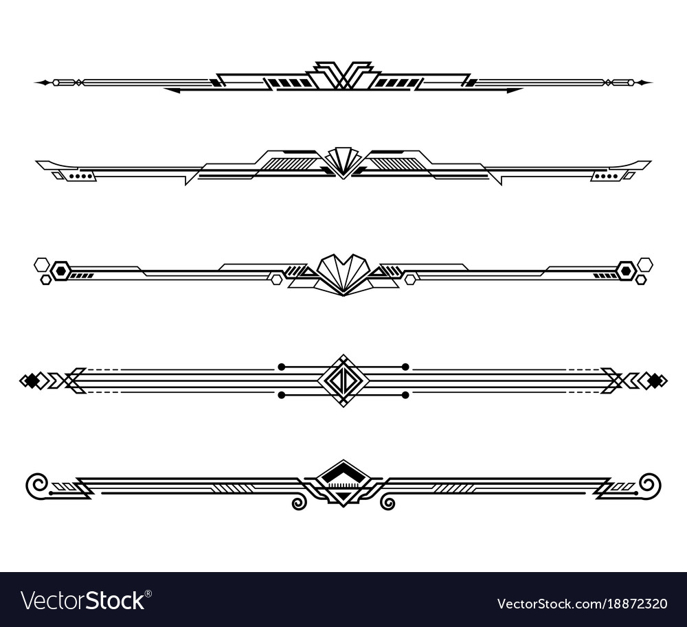 Set of art deco borders and ornaments vector image