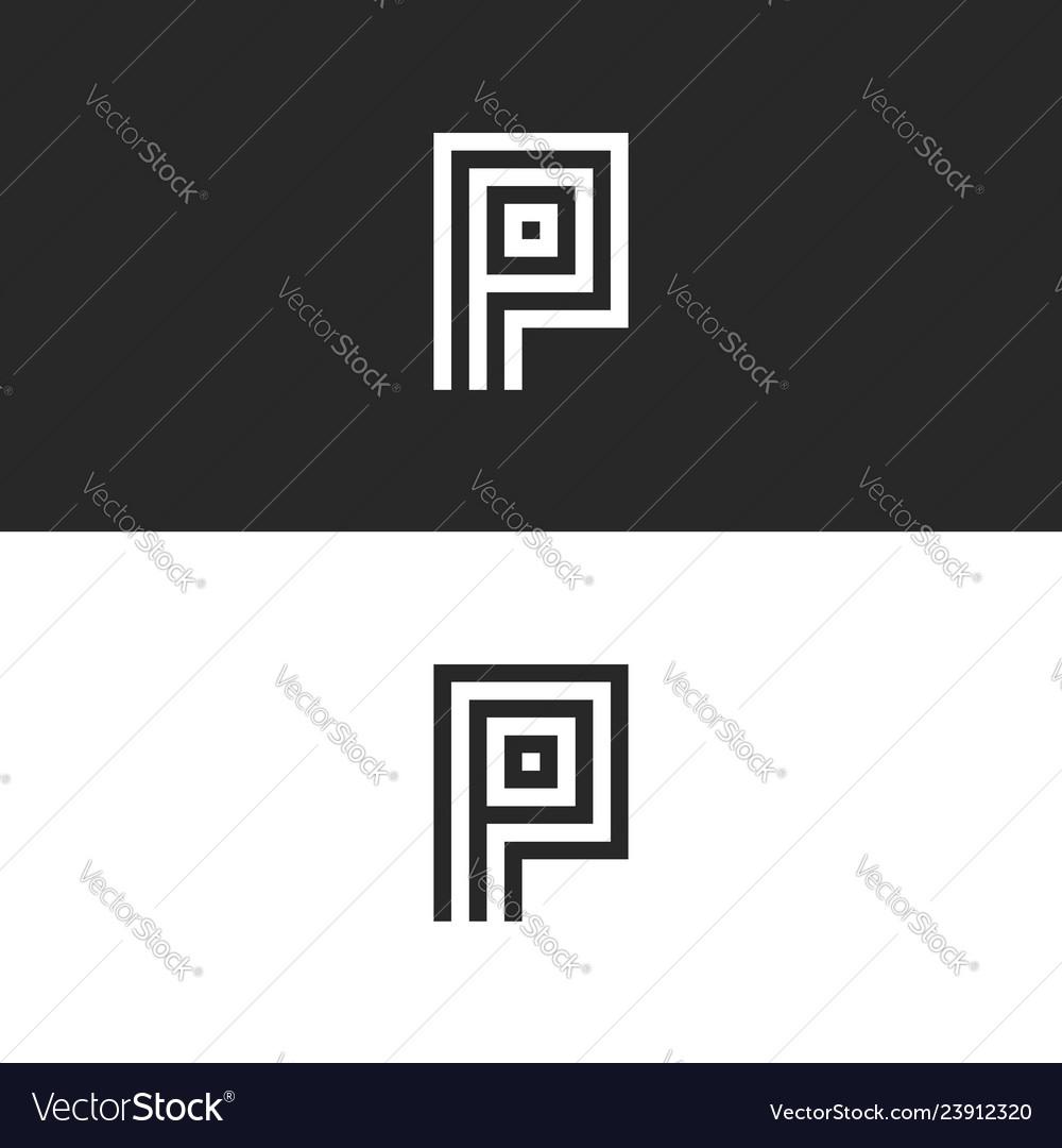 Shape p letter logo monogram minimalist style