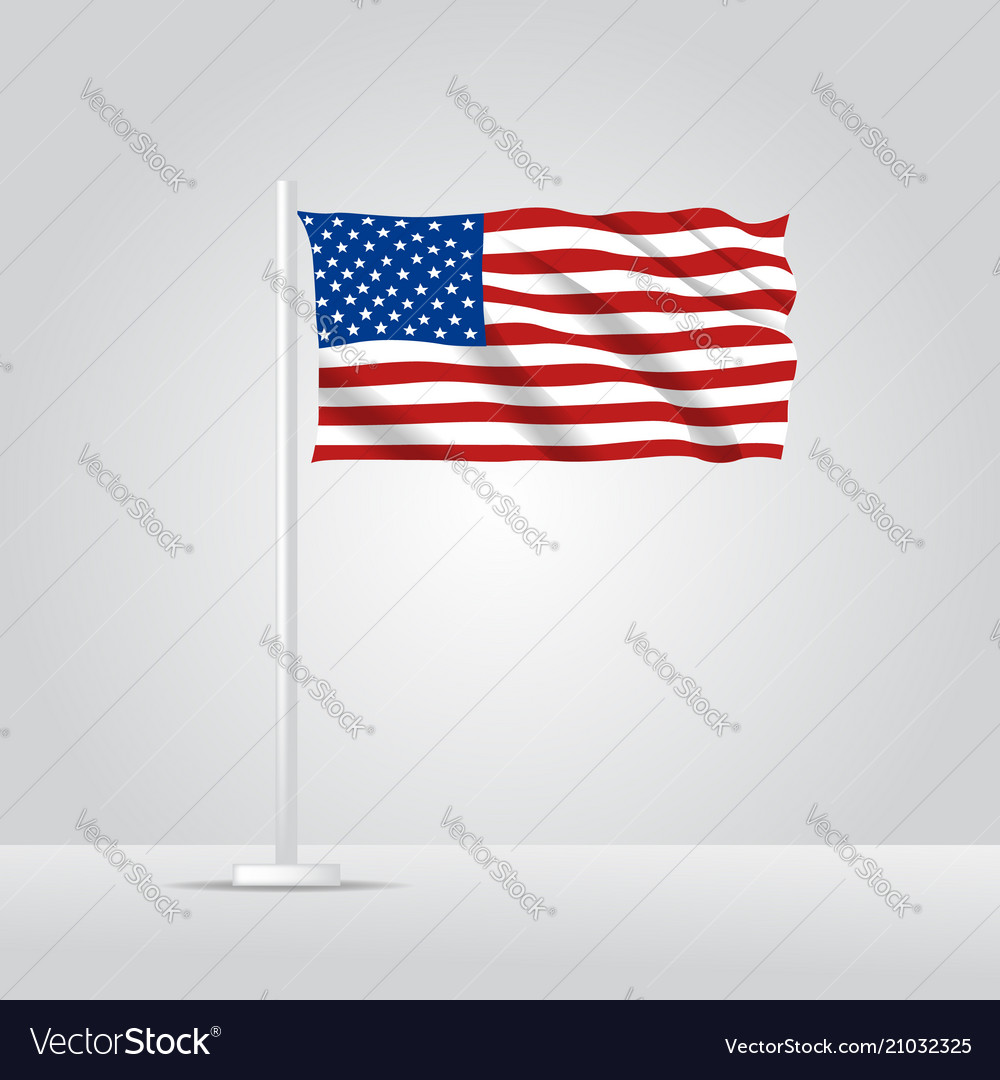 3d realistic united state america flag