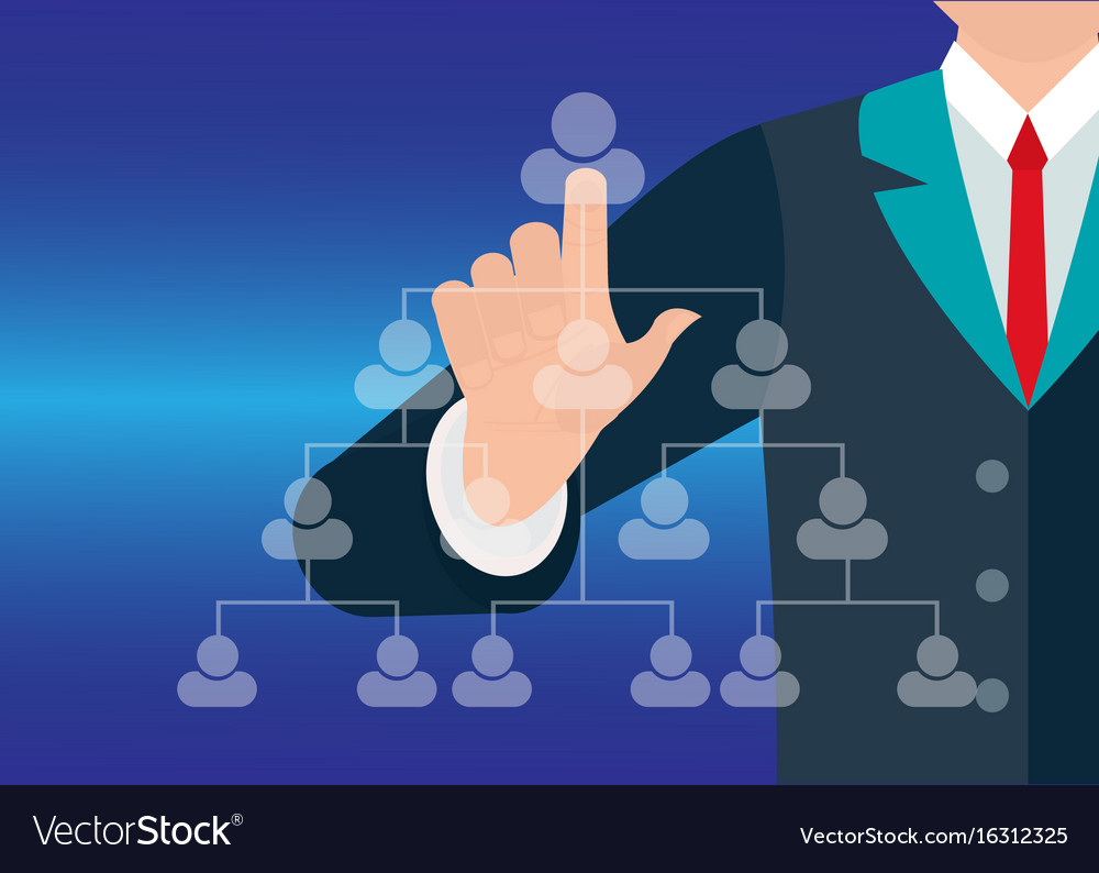 Businessman hand showing human icon flow chart vector image