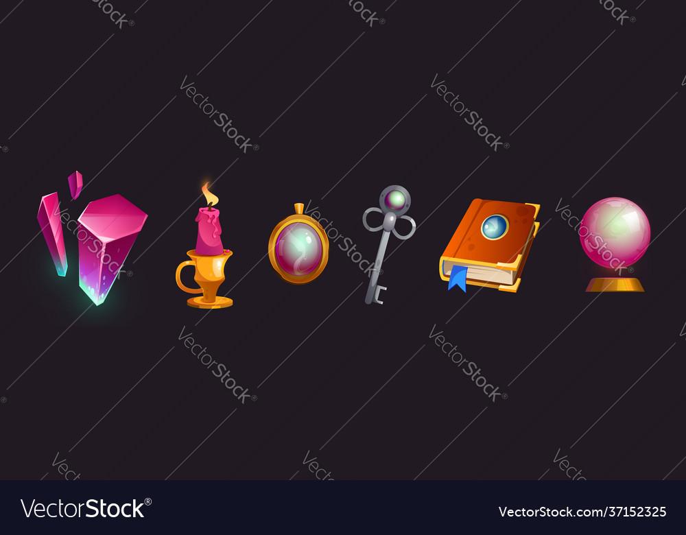 Cartoon magic items isolated witch stuff set
