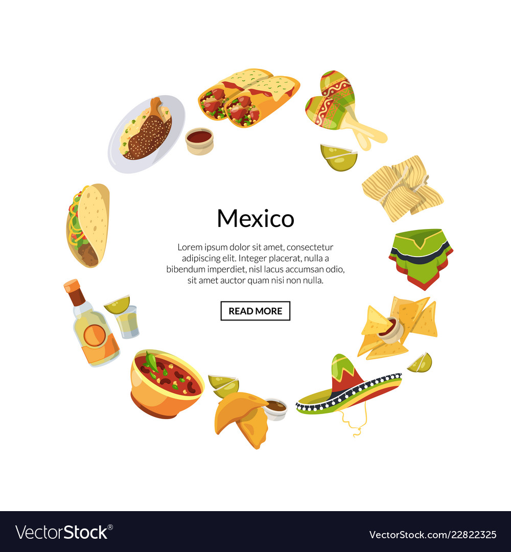 Cartoon mexican food in circle shape with