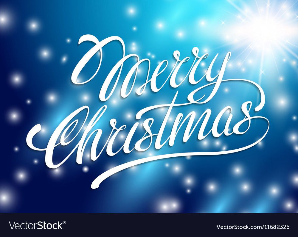 Christmas card merry christmas lettering on a blue christmas card merry christmas lettering on a blue vector image m4hsunfo