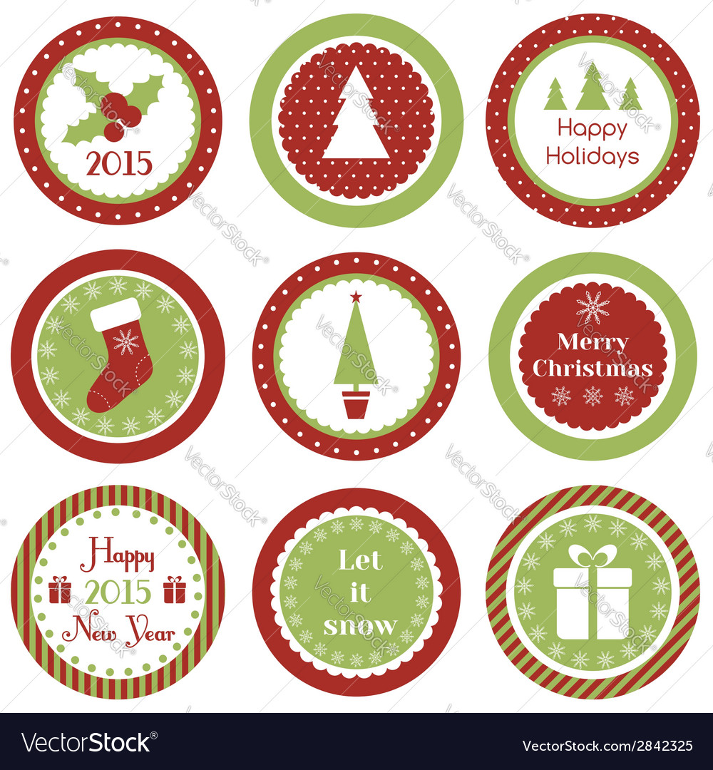 christmas cupcake toppers vector image - Christmas Toppers