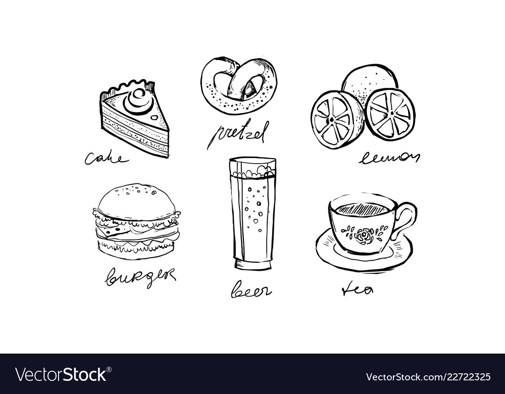 Collection of fast food dishes and drinks cake