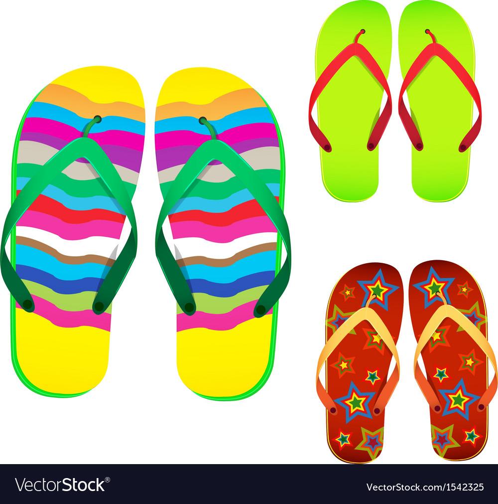 b3c57dd80ac Colorful flip flop Royalty Free Vector Image - VectorStock