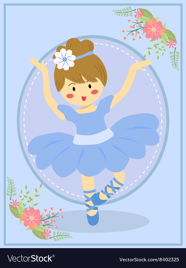 Cute Blue Ballerina Girl