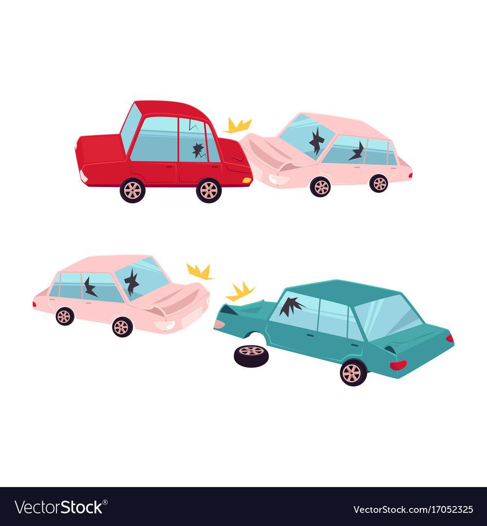 Flat cartoon car accident isolated