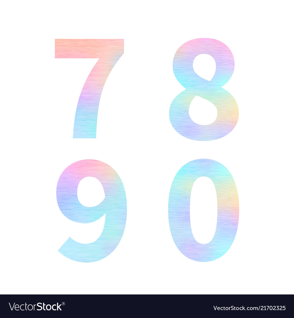Modern 7 8 9 0 letters with bright colorful
