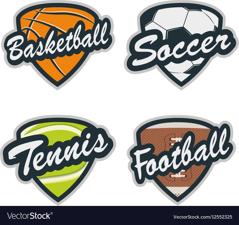 Set of Baseball Tennis Soccer Basketball and