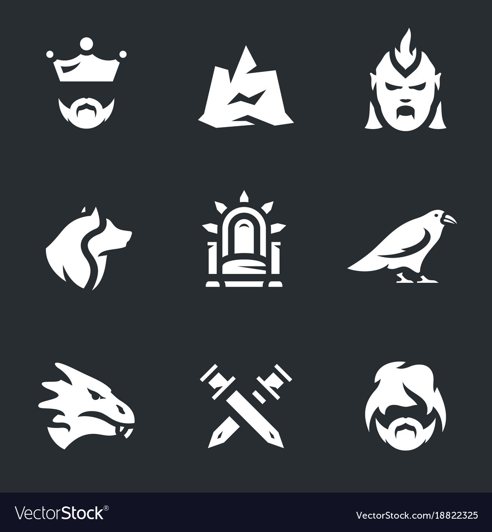 Set of fantasy dragon story icons