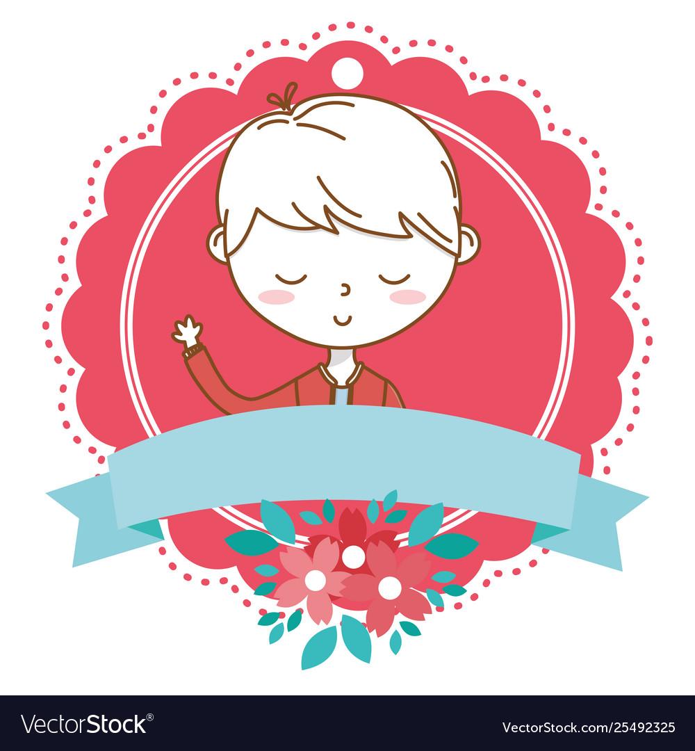 Stylish boy cartoon outfit portrait floral frame