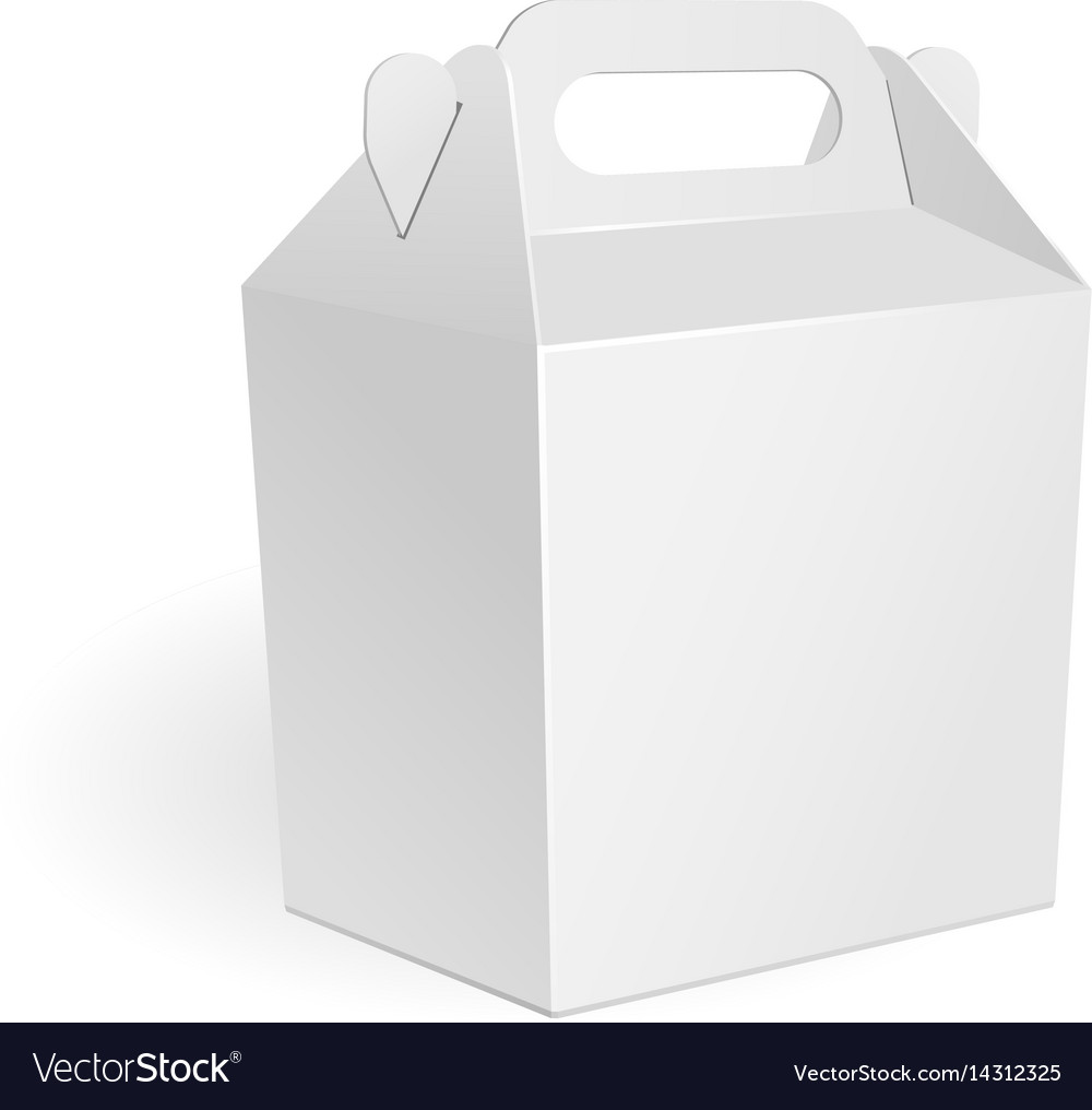 White cardboard carry box packaging for food gift vector image