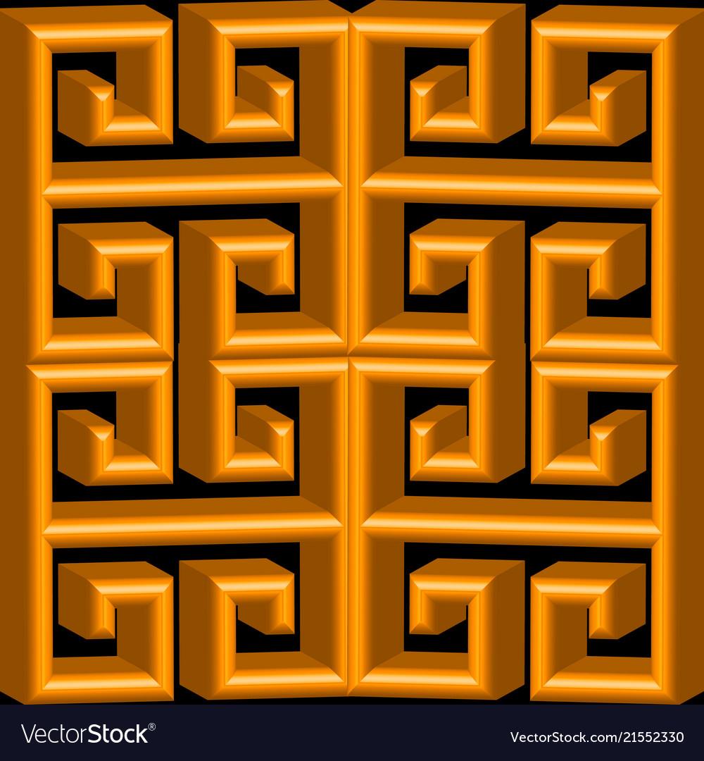 3d gold textured greek seamless pattern