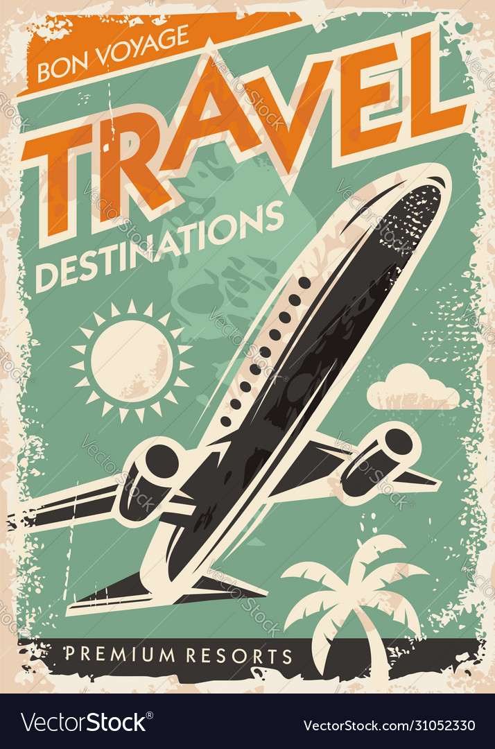 Airplane graphic on travel brochure
