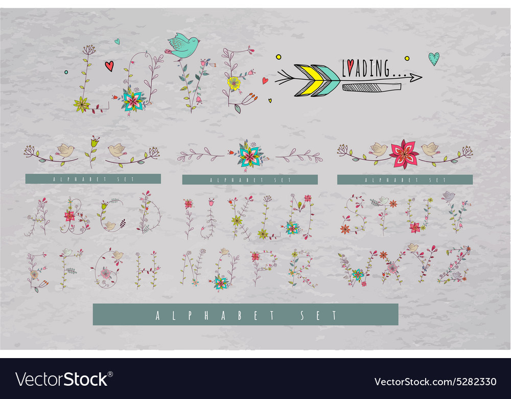 Alphabet Hand drawn letters with floral vector image