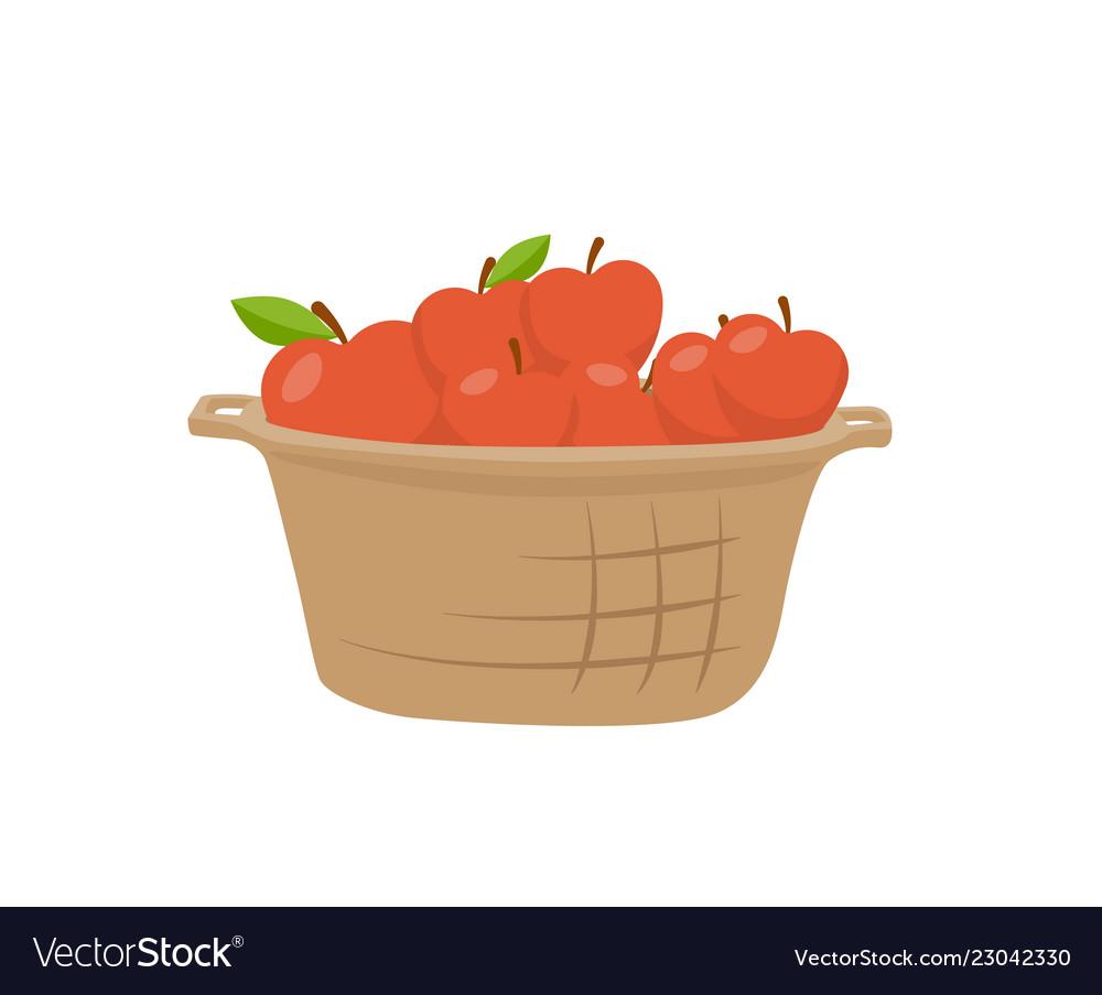 Basket of apples single icon cartoon style