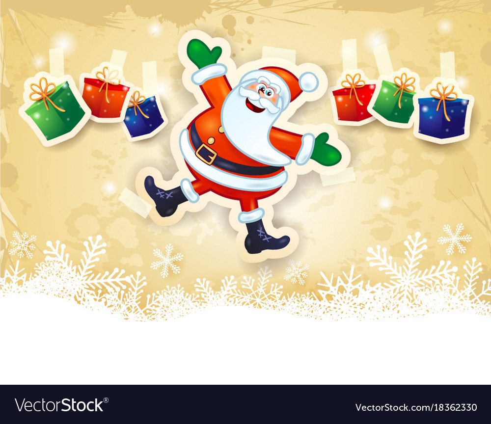 Christmas background with funny santa gifts and Vector Image