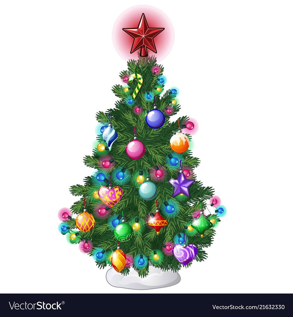 Christmas tree with colorful balls star toys