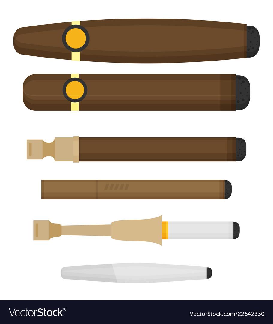 Cigarettes flat style set isolated on white