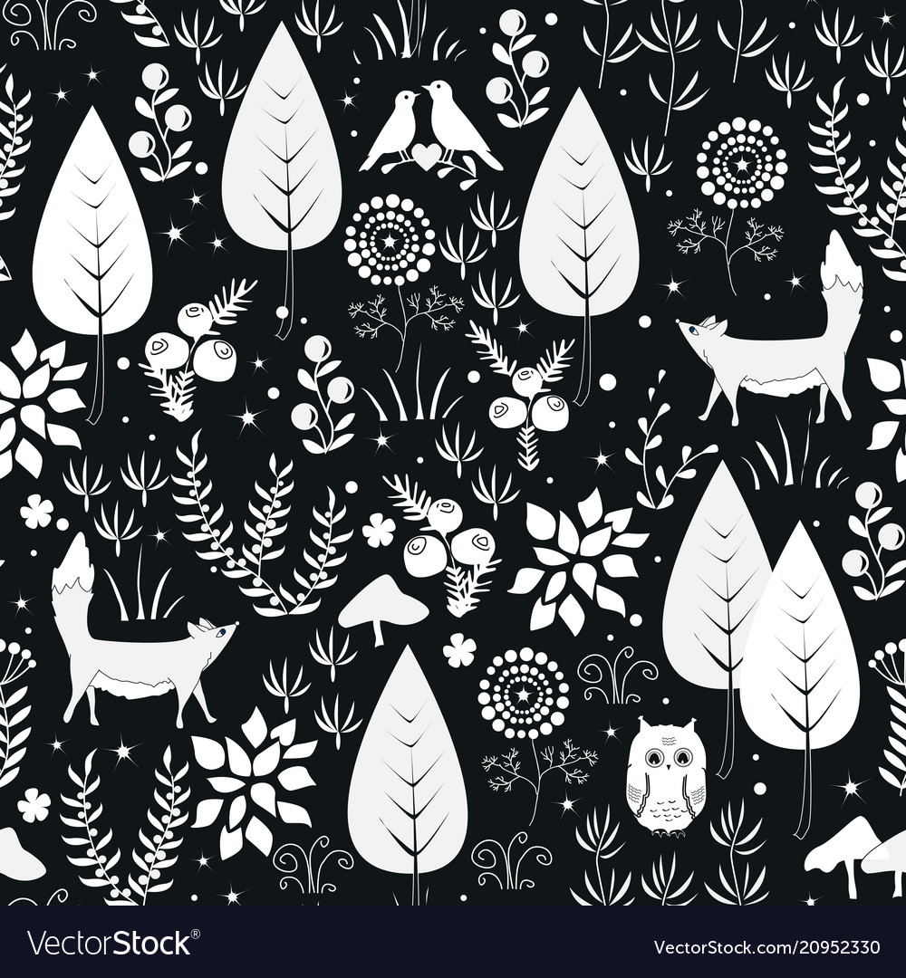Cute seamless pattern with forest