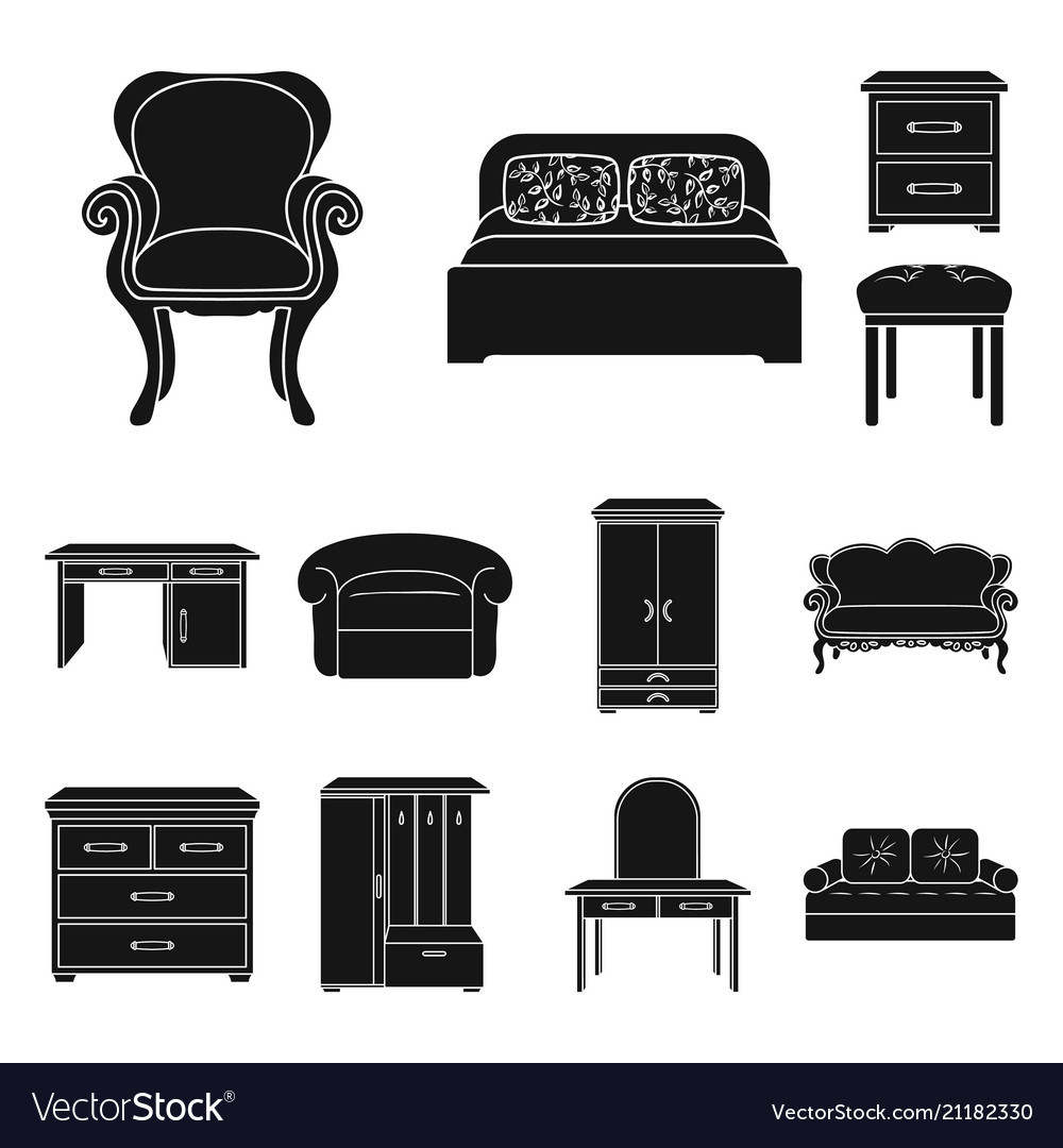Furniture and interior black icons in set