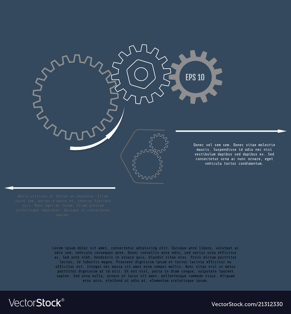 Gears with on the grey background infographic