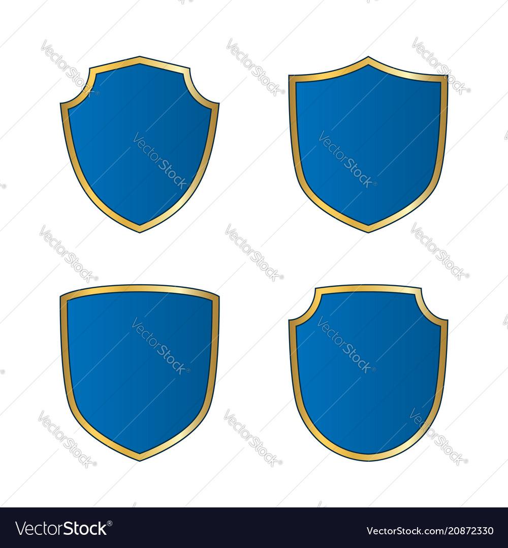 Gold-blue shield shape icons set bright logo vector image