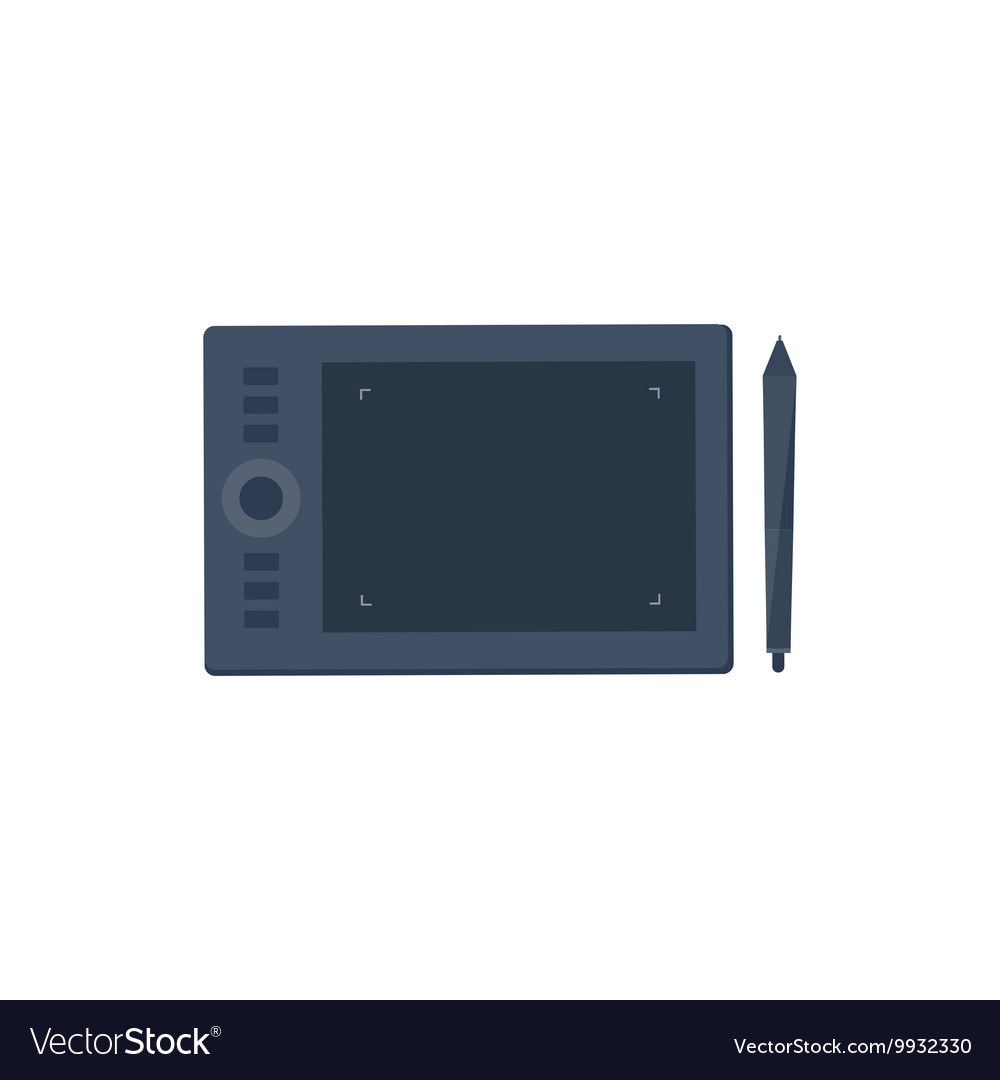 Graphic tablet in a flat style Digital drawing