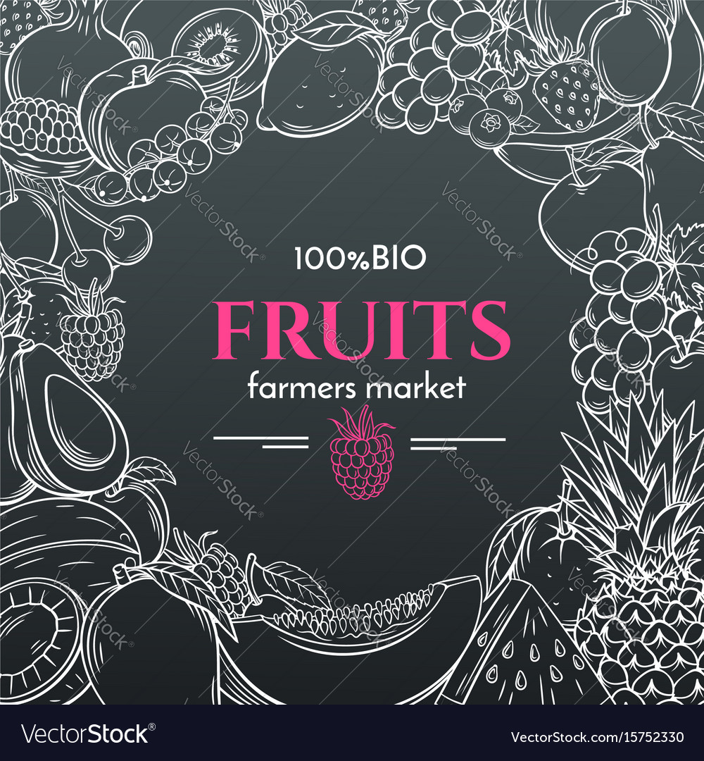 Hand drawn fruits for farmers market menu vector image