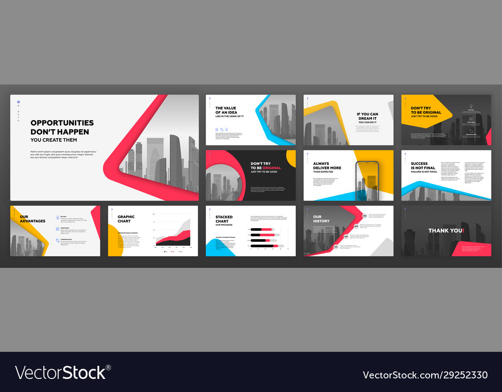 Modern presentation templates set for business