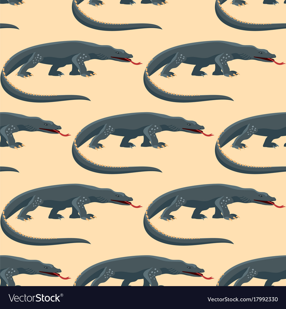 Reptile amphibian varan seamless pattern colorful