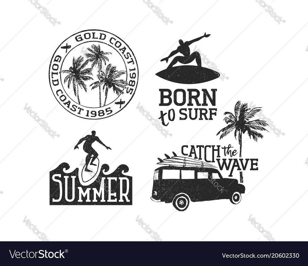 Retro surf quotes set for summer time enjoy