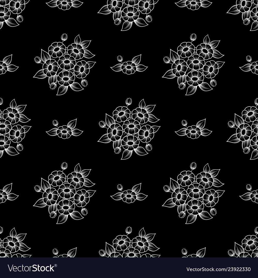 Seamless white outline flowers wallpaper