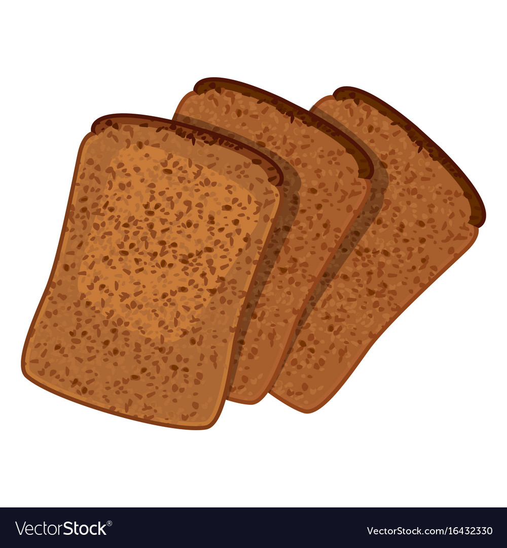 Three slices of wheat bread realistic style