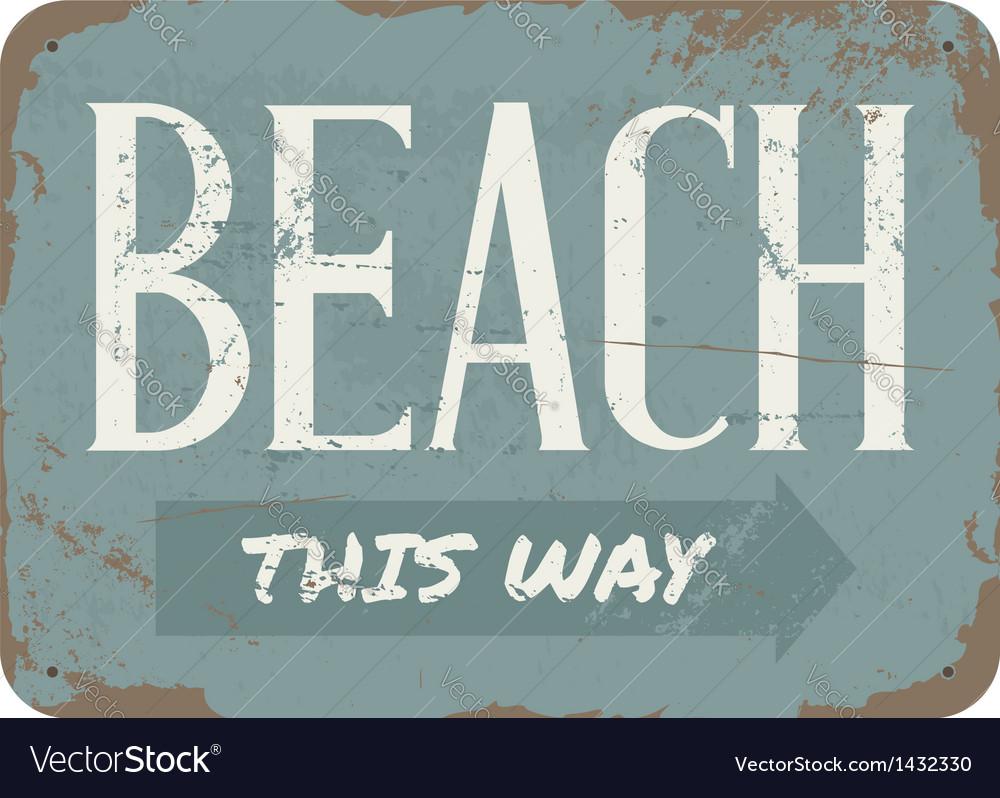 Vintage Beach Metal Sign