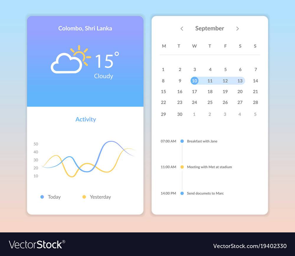 Weather application screens