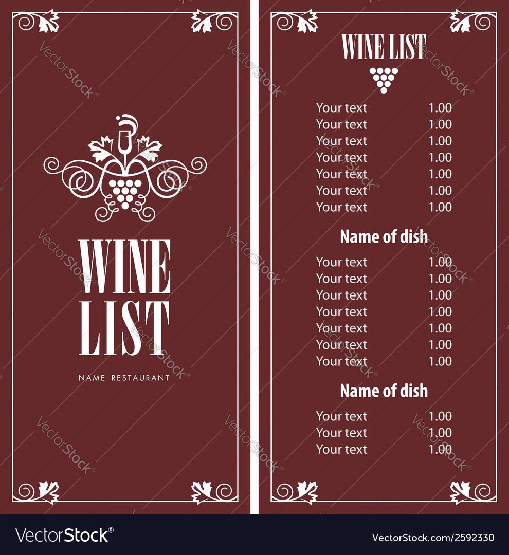 Wine menu Royalty Free Vector Image - VectorStock