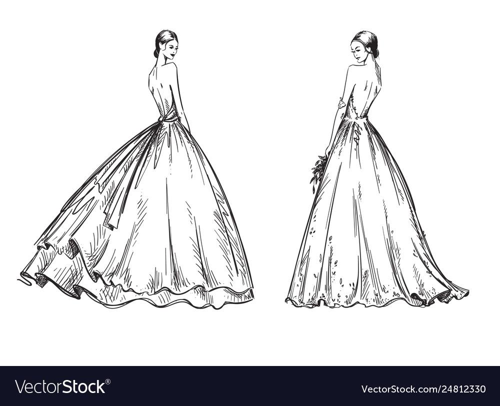 Young women wearing wedding dresses bridal look