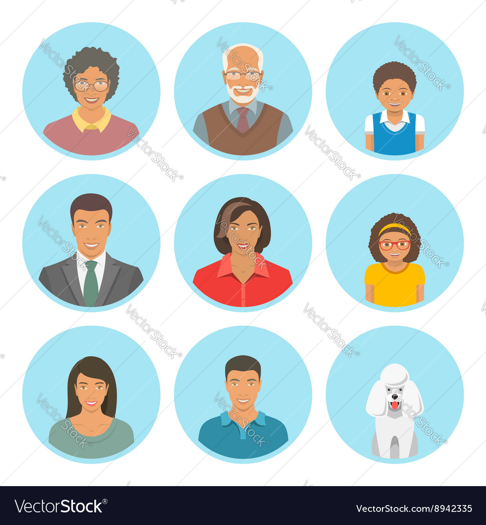 African American family faces flat avatars