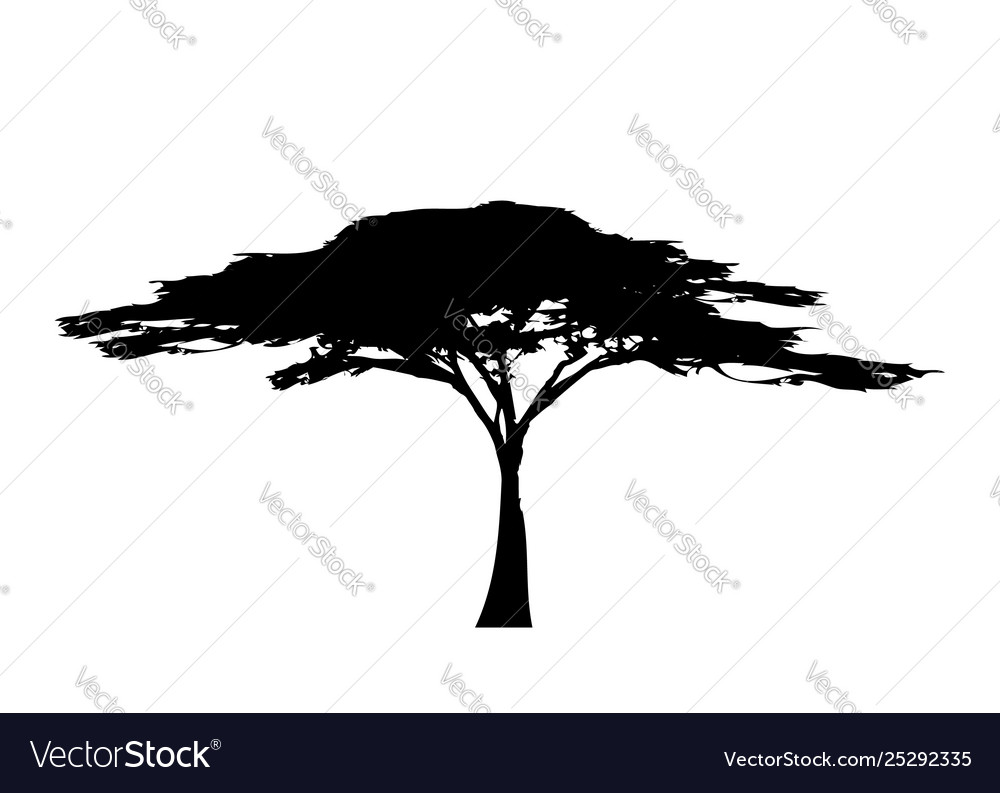 African tropical tree logo icon black and white