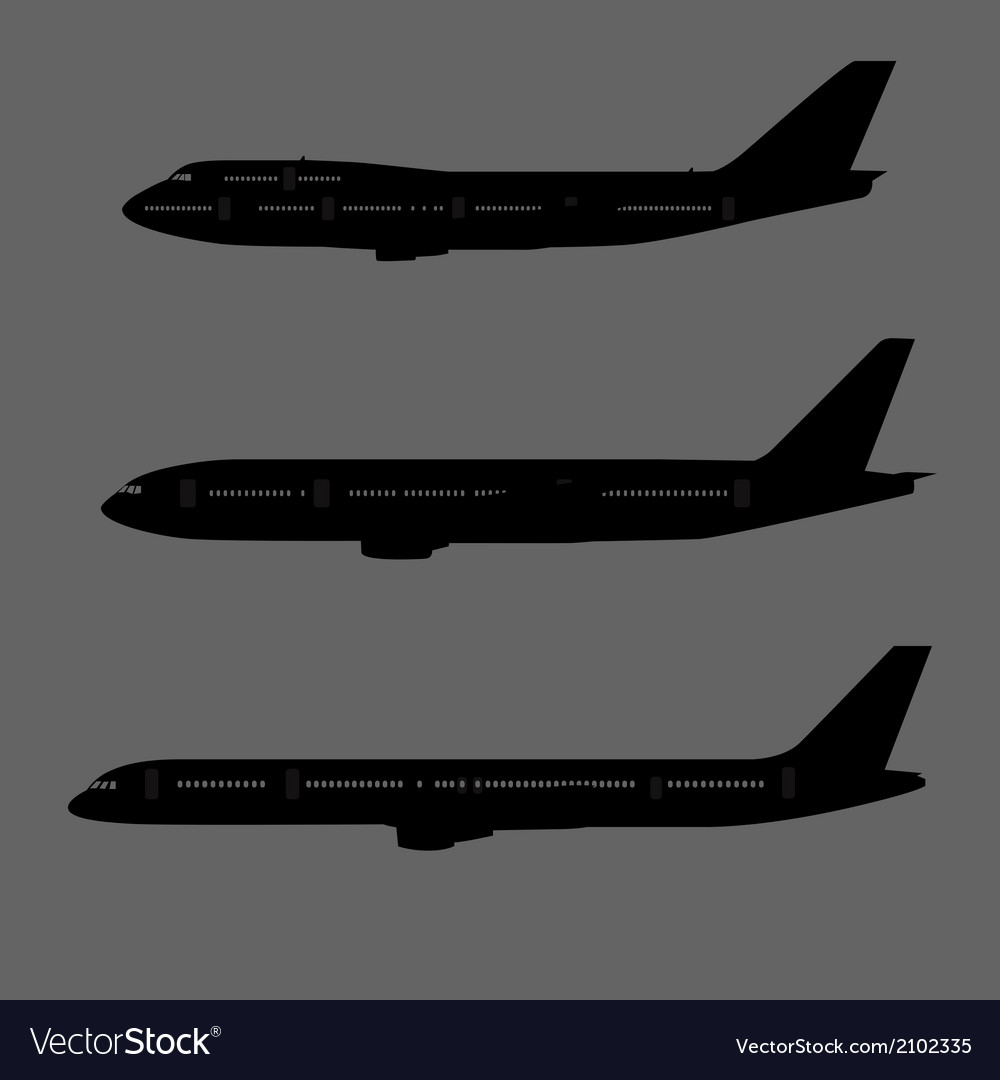 Aircraft silhouettes side view vector image