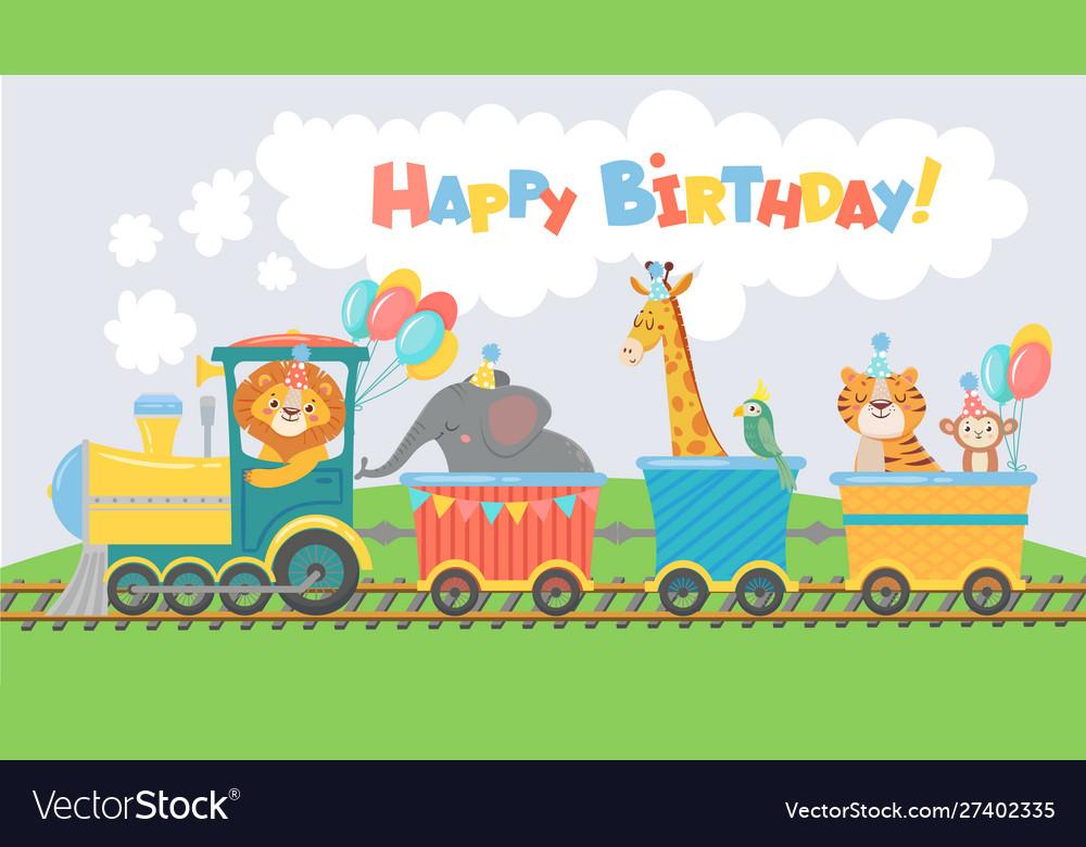 Animals on train greeting card happy birthday