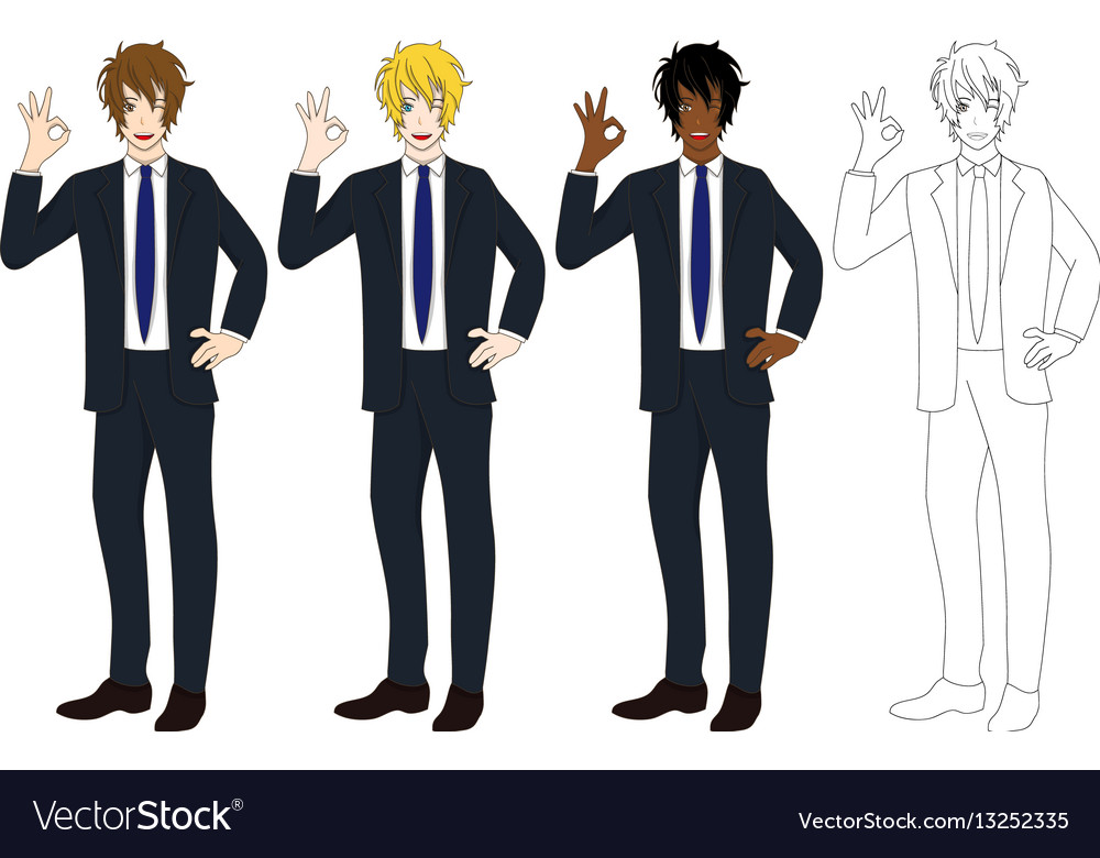 Business man showing ok hand sign