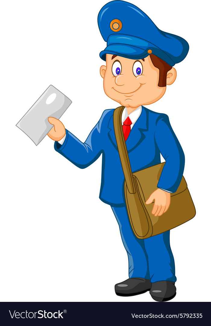 cartoon postman holding mail and bag royalty free vector email vector icon png vector icons email phone